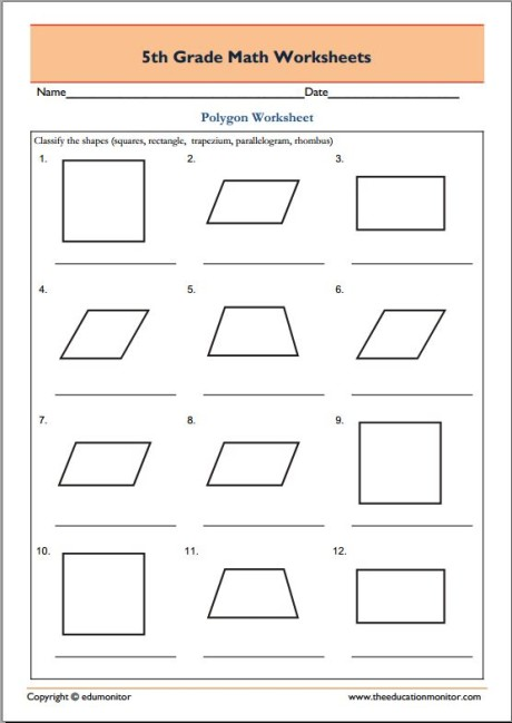 5th grade geometry math worksheets - Polygons
