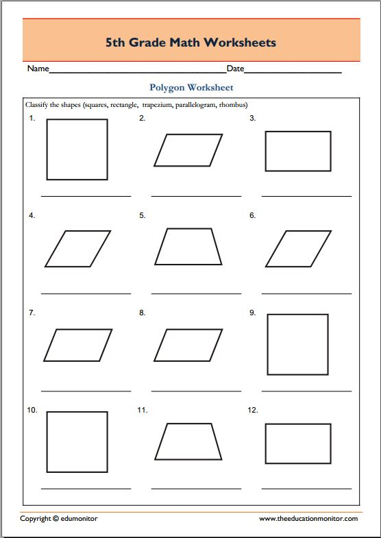 5th Grade Geometry Math Worksheets Polygons EduMonitor – Geometry Worksheets 5th Grade