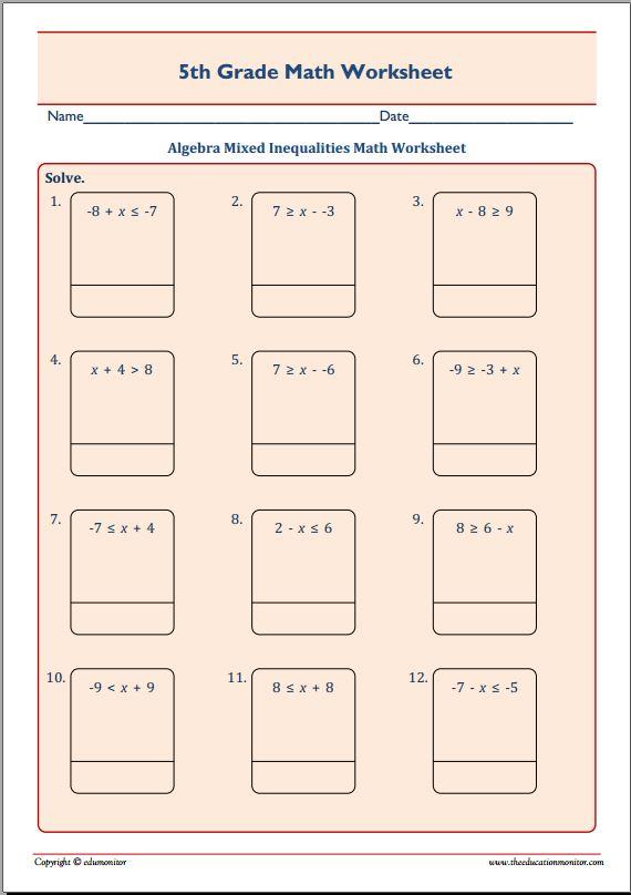 Algebra Mixed Inequalities Math Worksheet Edumonitor
