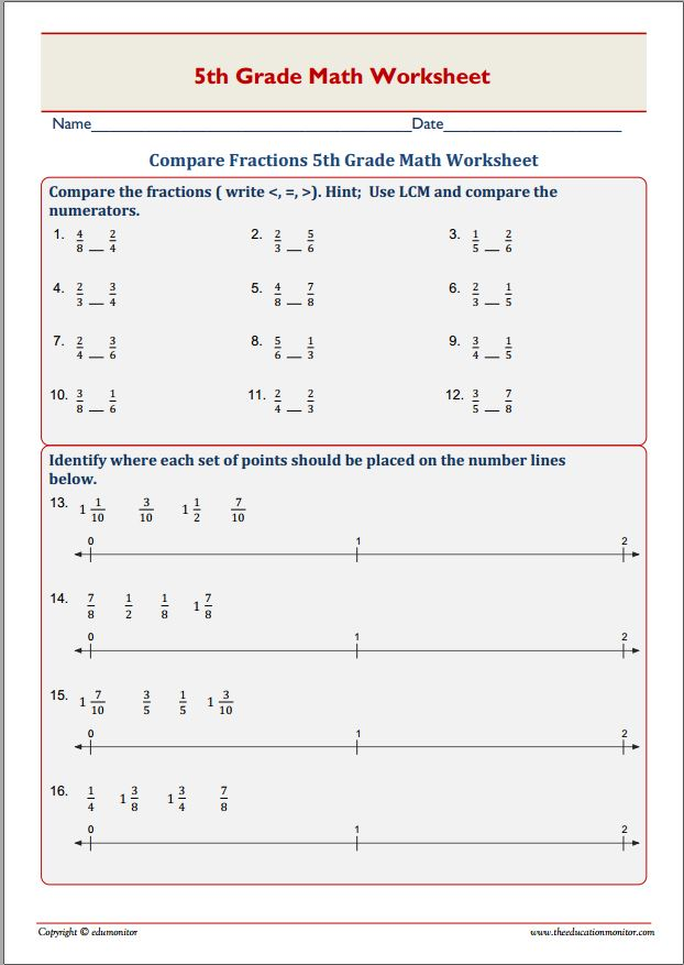compare fractions 5th grade math worksheet edumonitor. Black Bedroom Furniture Sets. Home Design Ideas