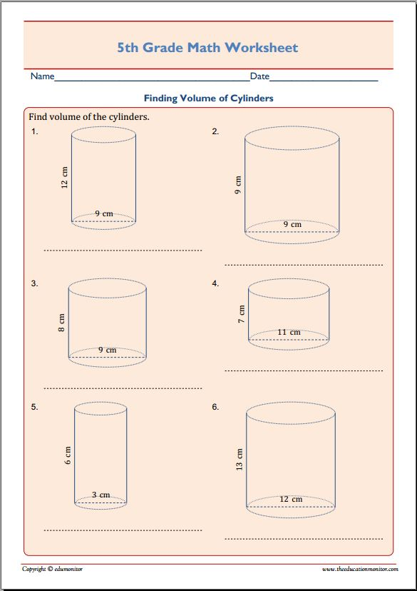 printable worksheets 187 volume of cylinder worksheets