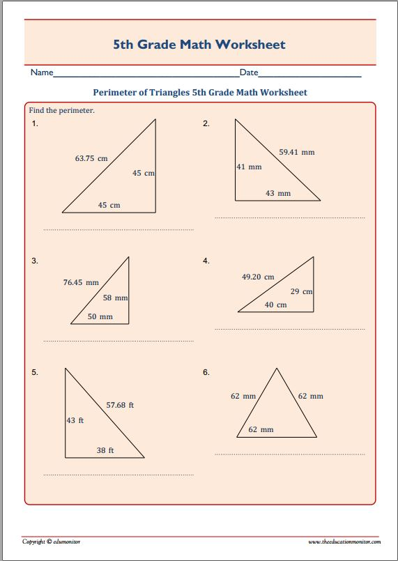 Area and perimeter worksheets 5th grade free