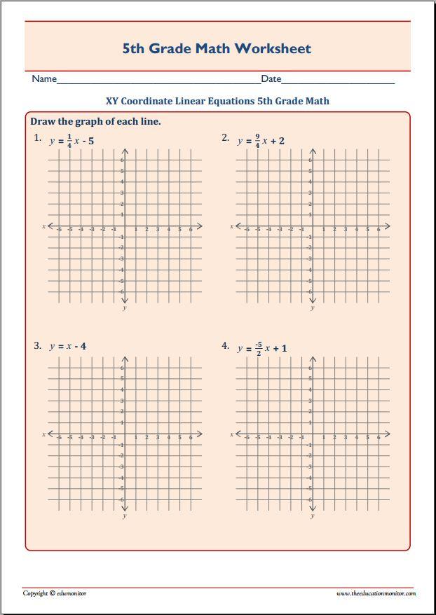 XY Coordinate Linear Equations 5th Grade Math – EduMonitor