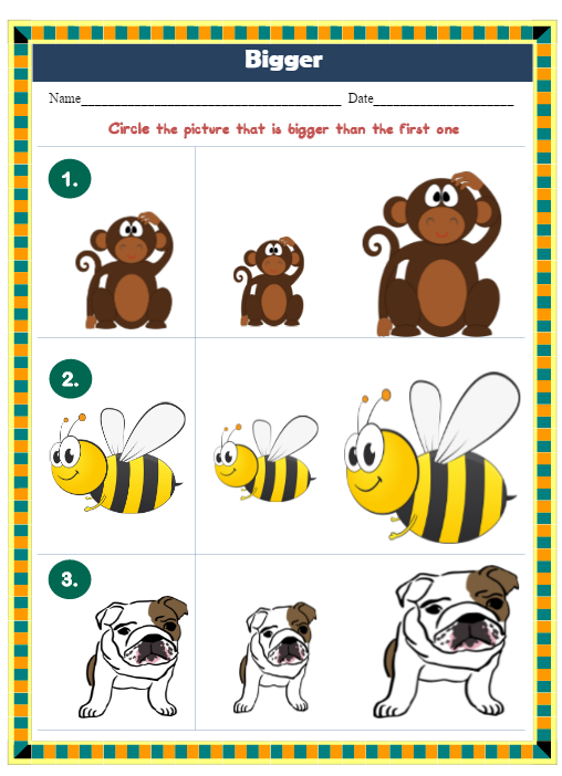 Preschool worksheets opposites