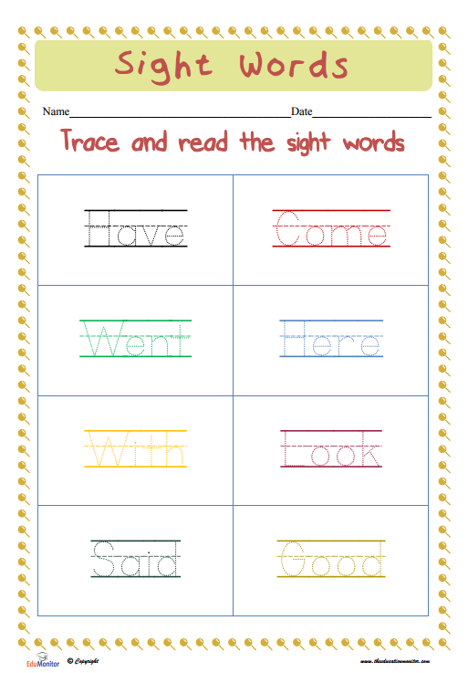 Dolch Sight Words Worksheets Edumonitor