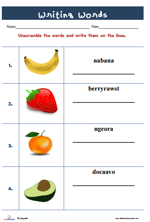 Printable unscramble words Worksheets