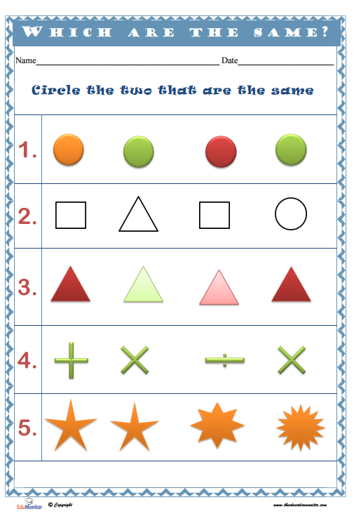 Preschool Shapes Worksheets Printables