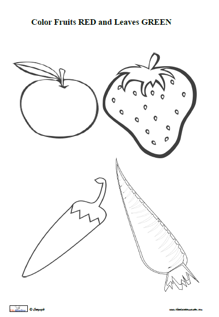 fruits and vegetables coloring pages print