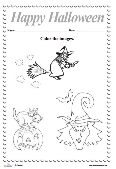 free halloween activities coloring sheets