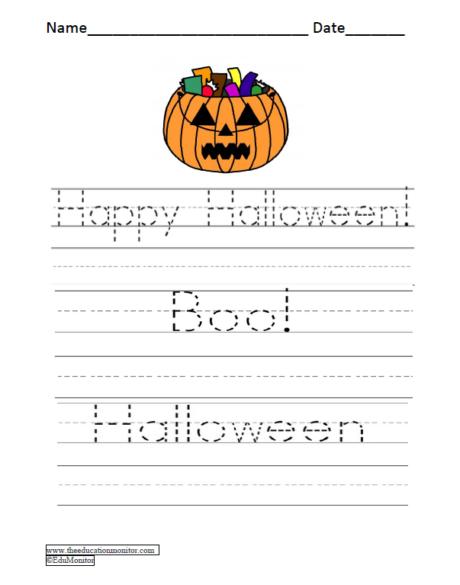 Printable Halloween Handwriting Worksheets
