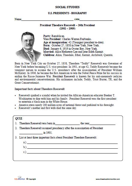 Theodore Roosevelt Worksheets-Social Studies u2013 EduMonitor
