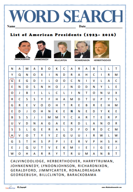 Us Presidents Wordsearch Find Answers pdf