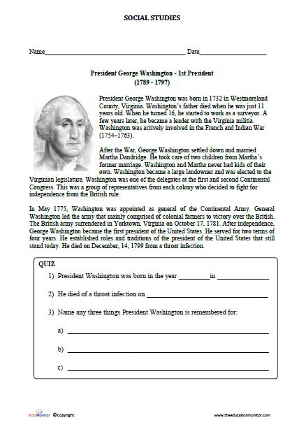 This is a graphic of Luscious George Washington Printable Worksheets