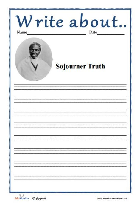Sojourner Truth accomplishments writing prompt
