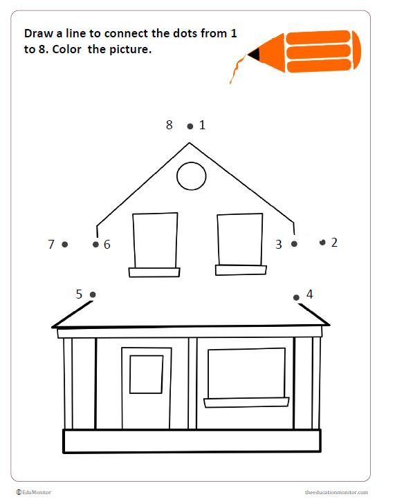 Kindergarten House Coloring Pages For Kids - Drawing With Crayons