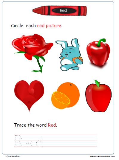 Free Preschool learning colors worksheets
