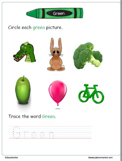 Learning Green Color Worksheets for Preschool