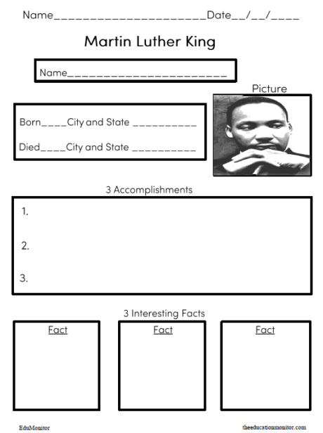 Free printable Martin Luther King worksheets