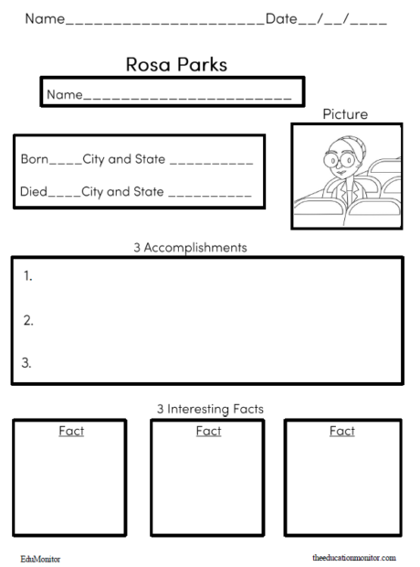 biography graphic organizer- Rosa Parks