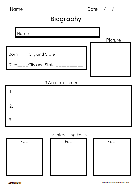 Free biography worksheet printable