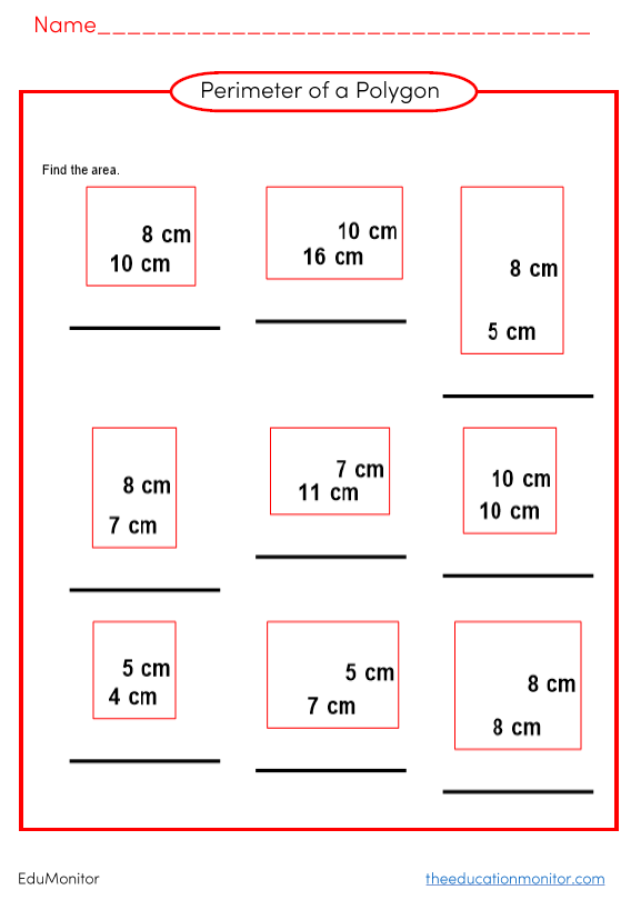 Perimeter and area worksheets for kids