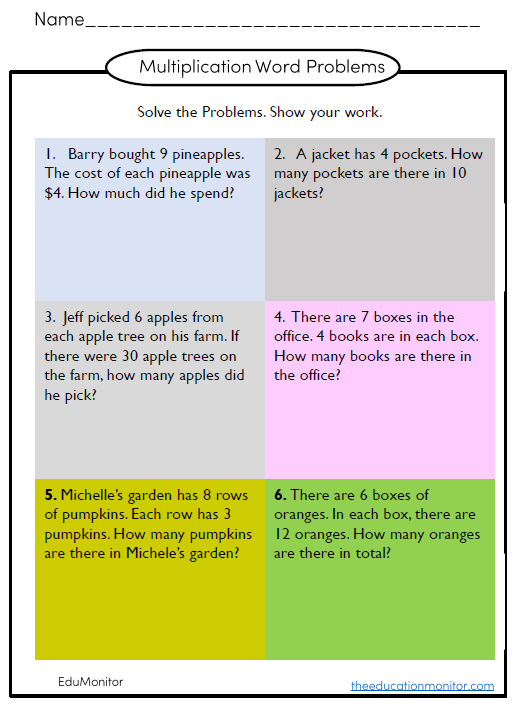 multiplication word problems worksheets and printables