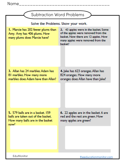 subtraction word problems worksheets and printables