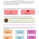 silent e words phonics worksheets