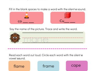 silent e words phonics worksheets