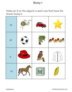 Bossy r words I phonics worksheets