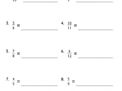 Fractions to Decimals Grade 4