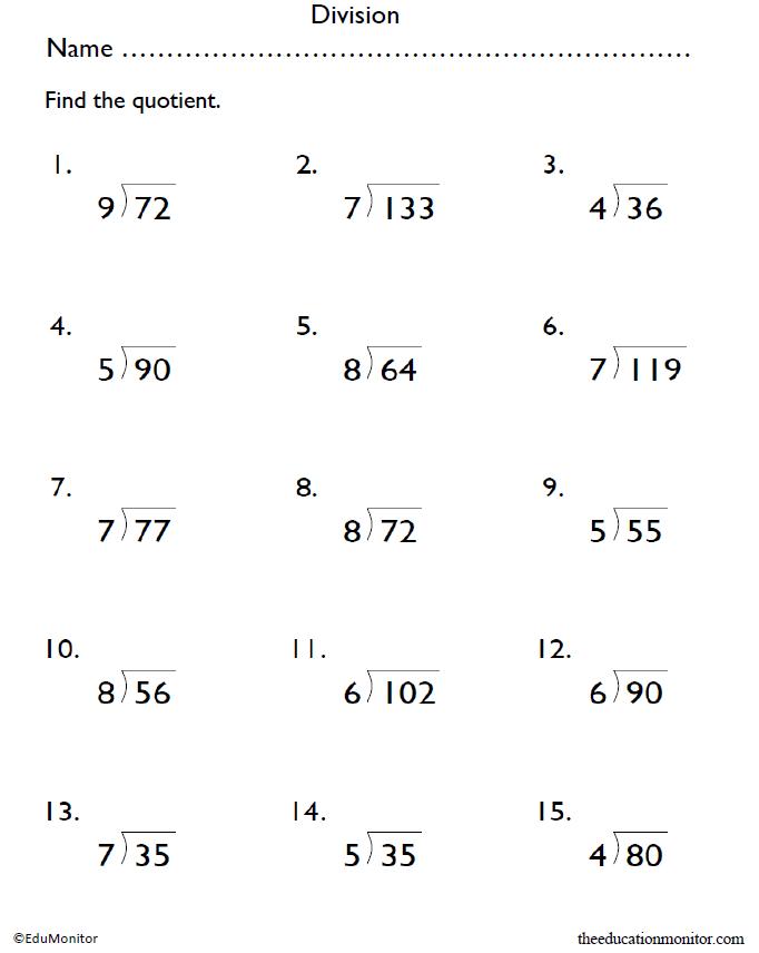 Grade 4 Division Math Worksheets   EduMonitor