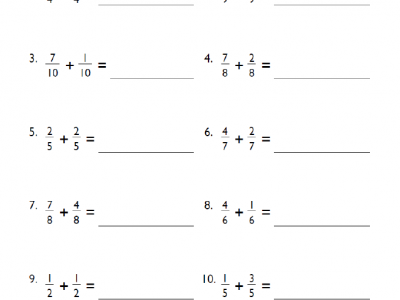 Our fourth-grade fractions addition worksheet cover and subtraction of fractions, finding common denominators, converting fractions to decimals and more.
