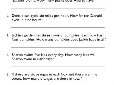 Multiplication Word Problems Pdf