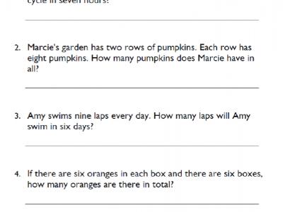 Fourth Grade Multiplication Word Problems Math Worksheet