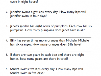 Fourth Grade Multiplication Word Problems