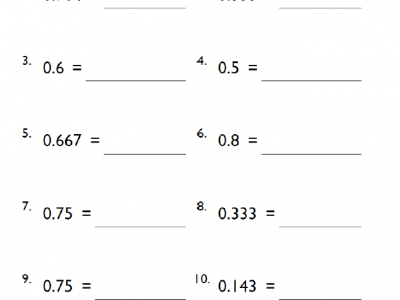 Grade 5 Converting Decimals to Fractions Math Worksheet