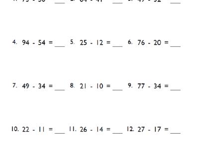 5th Grade 2-Digit Subtraction Worksheet
