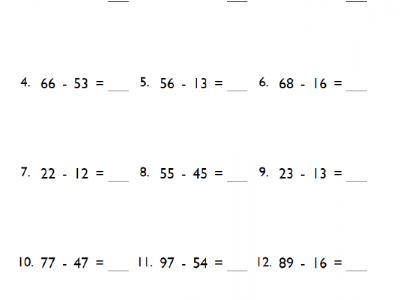 Grade 2 Double-Digit Subtraction