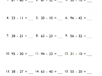 5th Grade Subtraction Math Worksheets