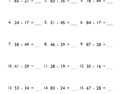 Fifth Grade Subtraction Math Worksheet