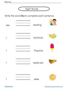sight words phonics worksheets