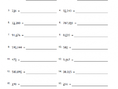 Place Value Math Worksheet for 4th Grade