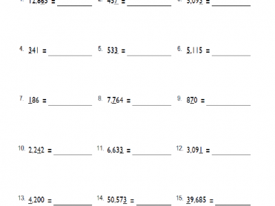 Fourth Grade Place Value Math Worksheets