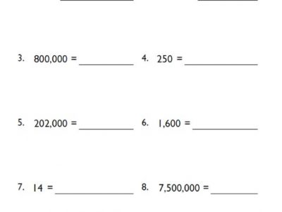Scientific Notation Worksheets for 5th Grade