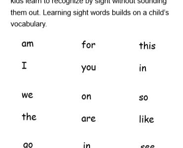 Kindergarten Sight Words List Worksheets
