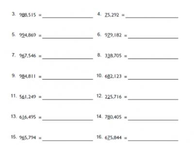 Rounding off Nearest Ten Thousand Math Worksheets