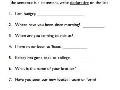 types of sentences worksheets for kids