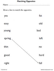 Kindergarten Matching Opposites Worksheets