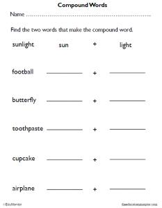 3rd Grade Compound Words Worksheets